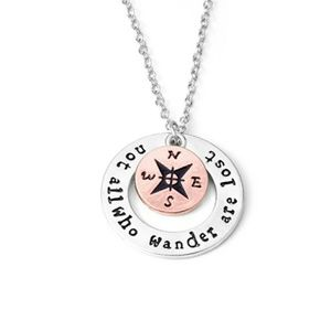 Silvertone 'Not All Who Wander Are Lost' Necklace